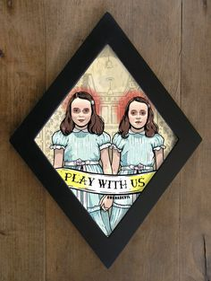 The Shining twins framed print. Play with us diamond framed print