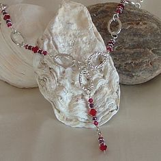 Necklace  Siam and Ruby Swarovski Crystals with by wiredroxz
