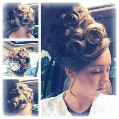 My hair for the meeting! Up high pin curl bun #apostolichair #pincurls #fancy