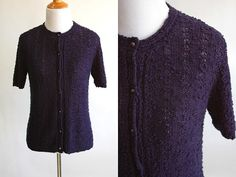 80s Navy Blue Slightly Purple Thin Knit Short Sleeve Cardigan - Cute Lightweight Cardigan with Pearl