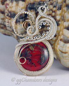 Original Design Swans Neck Pendant with Handmade Glass Cabchon by ggChambers