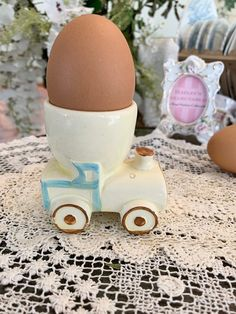 Train / Tractor Collectors Egg Cup - Vintage Mid Century Collectable - Very Special Rare Pyrex, Strawberry Shortcake, The Collector, Bowl Set, Tractors, Mid Century, Eggs, Hand Painted, Train