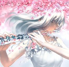 A close up of my glass flute painting :) ______________ Petals fall With every motion Taking all Of my emotion Carried away By the breeze Maybe someday I'll be at ease ------------------ Anime Art Fantasy, Manga Girl, Anime Art Girl, Anime Girls, Yuumei Art, Knights Of The Zodiac, Film Manga, Manga Kawaii, Music Drawings