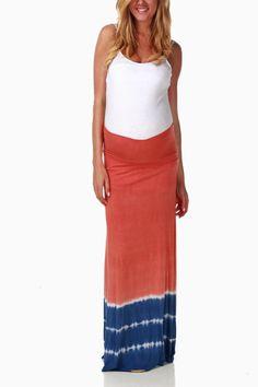 Orange-Blue-Tie-Dye-Maternity-Maxi-Skirt