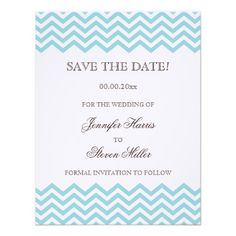 DealsAqua chevron pattern wedding save the date card announcementsyou will get best price offer lowest prices or diccount coupone