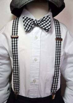 cc045ff0 black gingham bow tie and suspender boys | Suspenders Boys Bowtie Set Black  and White Gingham