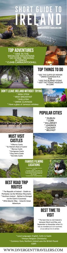 Discover the ultimate Ireland planning guide with everything you need to know to plan your adventure to Ireland. In our detailed Ireland section we cover: Popular sights in Ireland, Top things to do in Ireland, Best castles in Ireland, Best time to visit Ireland, Popular cities in Ireland, Must do road trip routes in Ireland and much more! #Planyourtrip #Ireland #TravelGuide #Travel #Adventure #Vacationideas #Holiday #TravelTips