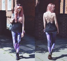 Get this look: http://lb.nu/look/6855902  More looks by Amy Valentine: http://lb.nu/amyvalentinex  Items in this look:  Mxci Pentagram Back Cami, Iron Fist Clothing Pegasus Leggings, Dr. Martens Purple Shimmer Boots   #casual #grunge #punk