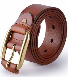 Canwelum® Full Grain Mens Belt, Brown Leather Belts, Mens Leather Belt for  Jeans with Copper Buckle 36 inches 5b1f4e516e1