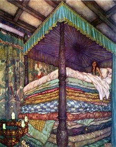 Princess and the Pea (The Real Princess), Edmund Dulac illustration to the Princess and the Pea fairy tale by Hans Christian Andersen.