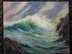 Gail Grant original Oil Painting SEASCAPE impressionism plein air Big Wave #Impressionism