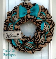 Door Chevron Burlap Wreath https://www.etsy.com/listing/189863827/burlap-wreath-black-and-natural-chevron