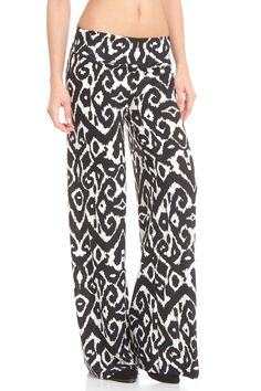 Violet Del Mar Palazzo Pant in White and Black II
