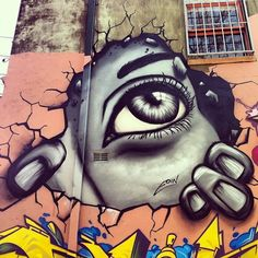 Over the last few years, artist Eoin has emerged onto the street art scene creating some mesmerizing paintings of huge, glistening eyes. He loves finding decayed, forgotten areas to paint his fantastic works.