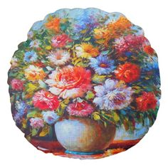 Gorgeous Floral Round Throw Pillow Round Pillow