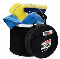 Car Wash KitSplish splash give a car a bath with this car wash kit. Includes a sturdy five gallon collapsible bucket with metal handle, micro fiber cloth, sponge, wash mitt, squeegee and convenient carrying case with handle. The 600D case has a pocket for storing other items.