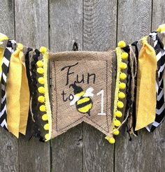 Fun to BEE one. What a cute and fun theme for a first birthday for a baby boy or baby girl! Such a great summer theme.     Bumble Bee First Birthday High Chair Banner/Fun to Bee One/Honey Bee/Bee Day Theme/Cake Smash/Photo Shoot Prop/Party Decor/Summer Theme