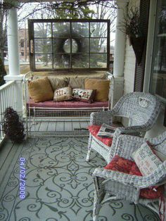 Iron bed and large hanging window~ Porches & Patios I have the bed,wreath and window.just need the right porch! Outdoor Rooms, Outdoor Living, Outdoor Decor, Indoor Outdoor, Terrasse Design, Home Porch, Outside Living, Old Windows, Antique Windows