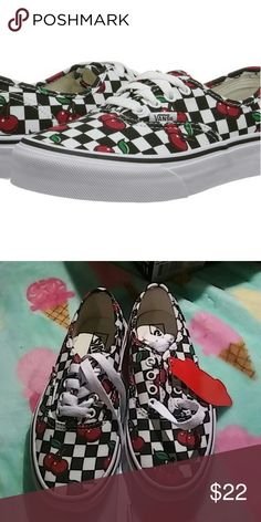 Nib girl vans This is a new pair of girls checkered and cherries vans black and white and red available in size 11 Vans Shoes