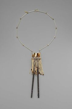 Necklace | Earl B Pardon. 14k gold, ebony, cat's eye stones.  ca. 1965 -75.