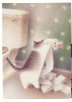 Le chat au papier toilette