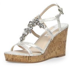 Dorothy Perkins Silver bling high cork wedges ($59) ❤ liked on Polyvore
