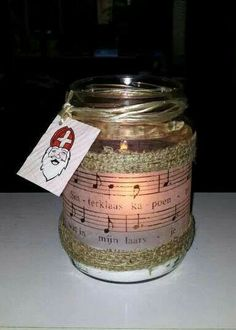 sinterklaaspotje Candle Jars, Candles, Kids Crafts, December, Lifestyle, Creative, Candy, Candle Sticks, Candle