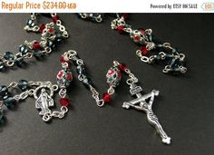 MOTHERS DAY SALE Swarovski Crystal Rosary in Siam Red and Montana Blue. Handmade Jewelry by Gilliauna by Gilliauna from Bits n Beads by Gilliauna. Find it now at http://ift.tt/2ppo98m!