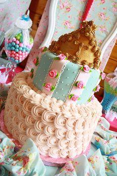 Gorgeous cake at a Shabby Chic Princess Party #shabbychic #princesspartycake