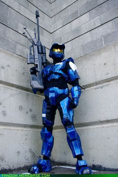 Spartan from Halo   or a blue team member from Red vs Blue CABOOSE IF YOU KNOW WHAT I MEAN BY RED VS BLUE UR AWESOME!!!