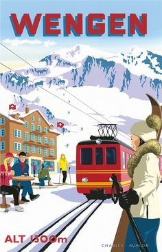 PEL131: [NEW] 'Wengen: Ski Train' - by Charles Avalon - Vintage travel posters - Winter Sports posters - Wengen - Pullman Editions
