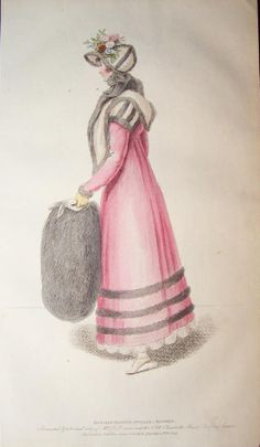Pink and grey pelisse. 1814 Belle Assemblee