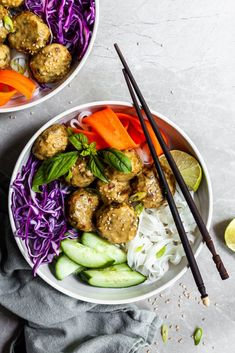 These vegan meatballs are made with wholesome chickpeas, seared mushrooms and lots of flavor from sesame, ginger and Thai curry. Serve them with velvety coconut Thai curry sauce, rice noodles and f… Chickpea Coconut Curry, Coconut Curry Sauce, Vegetarian Dinners, Vegetarian Recipes, Thai Curry Sauce, Curry Bowl, Diet Recipes, Healthy Recipes, Healthy Meals