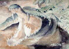 ACEO TW APR Original Alligator animals wildlife reptile swamp jaws green #Impressionism