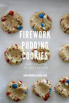 Firework Pudding Cookies // Fourth of July Recipe // M&M Pudding Cookies: