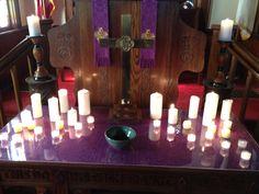 Communion table on Ash Wednesday Love Feast, Altar Design, Prayer Stations, Worship Ideas, Ash Wednesday, Worship Service, Altar Decorations, Palm Sunday, Lenten