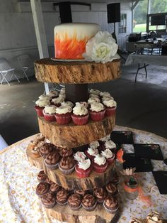 Rustic watercolor anniversary cake and cupcakes