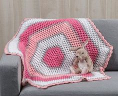Crochet something different for your little one with the Sweet Rose Baby Blanket. This easy crochet baby blanket is worked up in the round in a hexagon shape, creating a unique, striped baby blanket that your baby will love. Baby Afghan Crochet, Manta Crochet, Crochet Blanket Patterns, Free Crochet, Baby Afghans, Baby Blankets, Crochet Blankets, Easy Crochet, Crochet Stitches