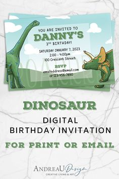 Print it or, if you're short on time, email out this fun, modern dinosaur invitation to all of your little party guests!