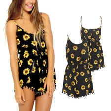 Sexy Ladies Summer Beach Striped Playsuits Jumpsuits Shorts Sunflowers Dress