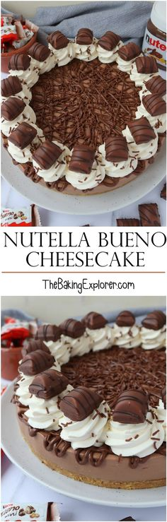 Recipe for a No Bake Nutella Bueno Cheesecake with lots of Nutella yummyness inside, whipped cream, and Kinder Buenos on top! No Bake Nutella Cheesecake, Nutella Cake, Cheesecake Recipes, Easy Baking Recipes, Baking Tips, Digestive Biscuits, Chocolate Sweets, Baked Donuts, No Bake Cake