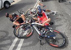 @grahamwatson10 Stage four of Qatar saw many riders crash - this one looks worse than it was...