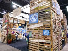 We built this trade show booth entirely from recycled crates. This natural food company's brand is reflected in the use of eco-friendly materials.