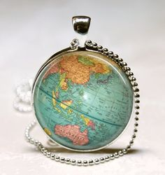 Vintage Globe Necklace Planet Earth World Map Art Pendant with Ball Chain Included - Etsy $8.95