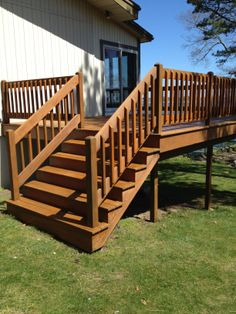 Cedar deck refinished Armstrong Clark Stair Railing, Railings, Stairs, Cedar Deck, Outdoor Spaces, Outdoor Decor, Types Of Wood, Decks, Dyi