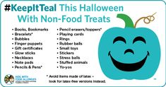 Have non-food treats available. Use our handy list for fun treat ideas. By offering non-food treats, you will help keep all kids safe and included in Halloween celebrations. Christmas Crafts For Gifts, Halloween Gifts, Holidays Halloween, Halloween Pumpkins, Halloween 2018, Halloween Ideas, Teal Pumpkin Project, Classroom Treats, Happy Fall