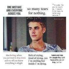 """""""Justin deserves nothing but love and respect. It seems that people only talk about you when you've done something wrong. But they never talk about the good you do. Everyone makes mistakes, but if you're in this position and make a mistake, you're the most hated person in the world. I hate seeing you like this Justin. It hurts me, US, your beliebers. We're always here for you Justin, like you are for us. We love you."""" -@cαmєяση вιєвєя☁"""
