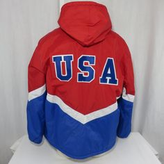 57f24113ba64 Speedo Swim Parka Coat Red Blue L USA Olympic Water Polo Team Jacket Vintage
