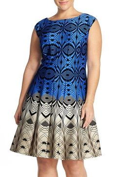 Free shipping and returns on Gabby Skye Colorblock Print Fit & Flare Dress (Plus Size) at Nordstrom.com. A striking two-tone design plays up the mesmerizing geometric print of a scuba-knit dress beautifully shaped with princess-seamed panels.
