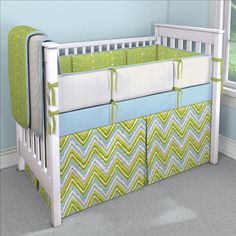 Citrus Chevron Custom 4-piece Crib Bedding Set | Citrus Chevron Nursery Idea | Carousel Designs